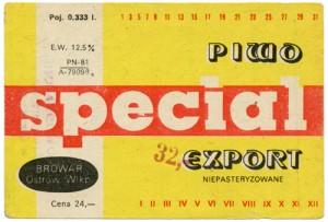 Etykieta piwa Special Export